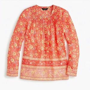J. Crew Cotton Floral Popover Shirt Size